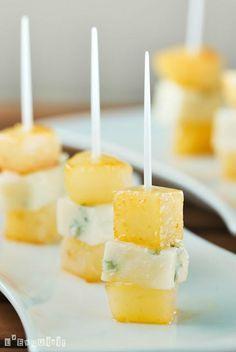 Recetas de aperitivos en 5 minutos: Pinchos de peras, miel y gorgonzola