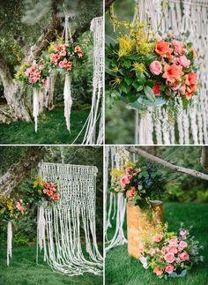 macrame wedding ceremony backdrop / http://www.deerpearlflowers.com/boho-macrame-knotted-wedding-decor-ideas/