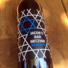 Bar Mitzvah Wine Labels, Bat Mitzvah, Favor, Table Numbers, Jewish Party, Birthday, Custom, Personalized, Decoration, Sticker, Star of David by DesignsByTenisha