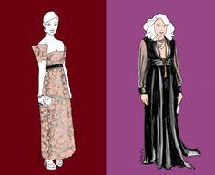 Zwei Empire-Kleider mit völlig unterschiedlicher Stil-Aussage: romantisches Biedermeier und androgyner Smoking-Look. Beide kaschieren ein kleines Bäuchlein, starke Oberschenkel und kurze Beine.