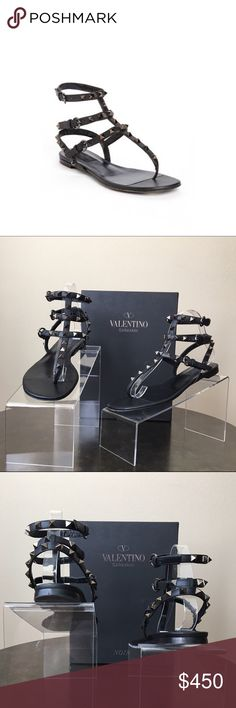Valentino 'Noir Rockstud' Thong Sandal Pyramid studs toughen up a strappy Italian thong sandal with rock-star appeal. Previously used. No missing studs. Bottom of right shoe has small blemish on leather as seen in the last picture. Adjustable straps with buckle closures. Leather upper, lining and sole. By Valentino; made in Italy. Valentino Shoes Sandals
