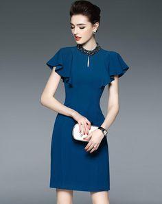 #AdoreWe #VIPme (VIPSHOP Global) Womens - LONYUASH Blue Plain Beaded Keyhole Ruffle Sleeve Sheath Dress - AdoreWe.com