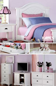 Style any children's bedroom with a youth bedroom set from Kane's Furniture. A fan favorite is the Brooke Full Bed Collection that features French and English dovetail detailing on the headboards. The wood on wood nightstands are complete with drawer stoppers and dust-proof antique finish knob hardware.