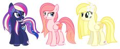 (from left to right) Rainbow Comet, Sunset Breeze and Sunny Blast plz adopt iadopted sunny blast