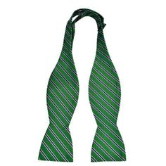 $29, Green Horizontal Striped Bow-tie: Notch Silk Untied Bow Tie Fonzie Green Base And Stripes In Blue And White. Sold by Tieroom. Click for more info: https://lookastic.com/men/shop_items/83316/redirect