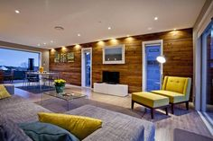 Lounge & dining with silver, brown and yellow accents - The Block 3 bedroom brick house in Anzac St, Takapuna by Ben & Libby. The Block Nz, Building Concept, Wooden Walls, Home Renovation, My Dream Home, Property For Sale, My House, Beautiful Homes, Sweet Home