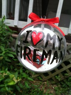 I love my firefighter ornament by ItsJustSlate on Etsy Christmas Fun, Holiday Fun, Christmas Decorations, Firefighters Girlfriend, Firemen, Firefighter Decor, Holiday Crafts, Holiday Decor, Christmas Gifts For Girlfriend