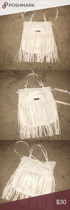 Steve Madden Fringe Purse White leather with silver stitching. Great condition! Steve Madden Bags Totes