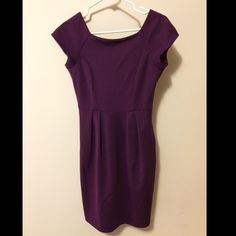 BB Dakota Purple Mad Men-style Shift Dress Hey Joanie! Grab your gold pencil necklace & get to work! This deep purple above the knee dress is perfect for 9-to-5 gals who want a polished look with a pop of color. V-back neckline, small slit in the back, pockets & side zipper details. BB Dakota Dresses Midi