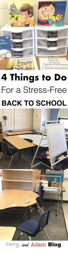Four Things to Do For a Stress-Free Back to School (This blog post gives teachers ideas of things to do over the summer to prepare for the upcoming school year.)