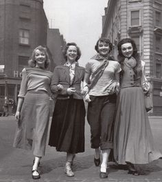 The girl members of the cast arrive at the Cambridge Theatre rehearsal of Sauce Tartare, 1949.  Left to right: Aud Johannsen, Nina Tarakanova, Audrey Hepburn and Marlana.