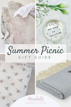 Picnic accessories and gifts for her. Pin now to read later ~ Mirabelle Makery #picnicbags #handmadegifts #giftsforher #picnicideas #summer