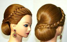 Hairstyles for medium long hair, wedding updo. Свадебная прическа для дл...