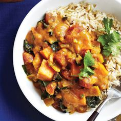 This African Peanut Stew recipe features a truly tantalizing combination of flavors -- including warming curry powder, bright ginger and nutty peanuts. Finely chopped jalapeños give this stew a nice, mild background heat, but if you're chile-averse, you can cut down or omit them: http://www.cleaneatingmag.com/Recipes/Recipe/African-Peanut-Stew.aspx