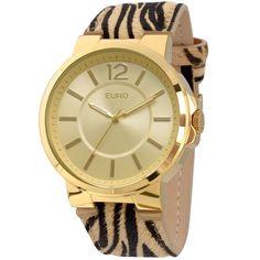 9972811f205 Relógio Analógico Euro Collection EU2035XZK 2D - Marrom Caixa redonda em  metal banho gold.