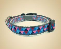 Obroża dla psa Triangle blue/pink - OssoDiCane - Obroże dla psów