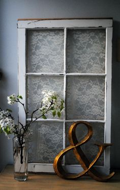 Another Charming Vintage Window with Lace; Repurpose, Recycle, Upcycle, Old Windows, Vintage Lace, DIY, Vintage Décor!