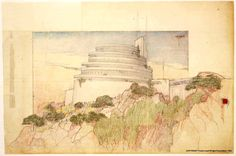 frank lloyd wright drawings | CIDADE BRANCA: ARCHITECTURAL COLOR SKETCHES | 1197 | FRANK LLOYD...