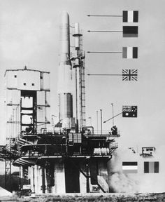 Each physical part of the first ELDO-rocket had a different country of origin. Photo: ELDO carrier Rocket Europe 1 (F5) before its launch in Woomera, Australia, 1966, Deutsches Museum.
