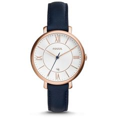 Fossil Jacqueline Navy Leather Watch (€100) ❤ liked on Polyvore featuring jewelry, watches, accessories, leather watches, leather-strap watches, navy jewelry, fossil wrist watch and slim watches
