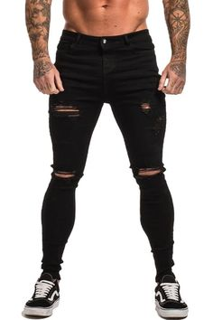 Sweat-absorbent breathable fabric is soft to touch and comfortable for casual. Zipper closure High Waisted Design, the inseam length is about 30 inch. Slim Fit Ripped Jeans, Ripped Jeans Outfit, Torn Jeans, Casual Jeans, Jeans Style, Biker Jeans, Skinny Jeans, Men's Jeans, Spray On Jeans