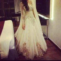 Middle East India Wedding Dresses Sexy Long Sleeves See Through Wedding Gowns Floor Length Lace Tulle Custom Made Bridal Dresses Best Wedding Dresses, Wedding Attire, Bridal Dresses, Wedding Gowns, Trendy Wedding, Wedding Ideas, Perfect Wedding, Wedding Reception, Pakistani Dresses