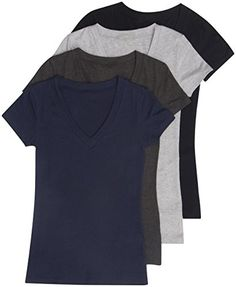 4 Pack Zenana Women's Basic V-Neck T-Shirts * More info could be found at the image url.