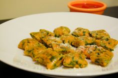 sweet potato and spinach gnocchi.  These were just alright.  They need something and I'm trying to figure out what type of sauce to serve with them.