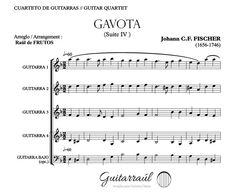 GAVOTA (J.C.F. FISCHER) Guitar quartet arrangement. FREE Score. http://www.guitarraul.com/p/90/gavota-j-c-f-fischer-gratis