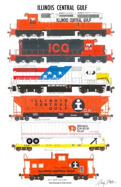 "An 11""x17"" poster with some of Andy Fletcher's hand drawings of ICG locomotives and rolling stock."