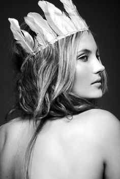 Gorgeous girl with silky skin Feather Crown, Feather Headdress, Feather Headband, Wedding Headdress, Coachella, Portraits, Photoshop, Monochrom, Girl Inspiration