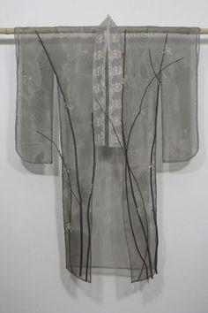 """""""Yasumi"""" (Rest) Flameworked glass, monel mesh, recycled lace, chokecherry branches X X cm – X X 2010 Kimono Fashion, Fashion Art, Vintage Fashion, Japanese Textiles, Japanese Kimono, Creative Closets, Opera Coat, Silk Kimono, Kimono Style"""