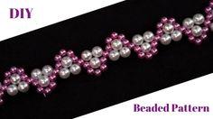 Beaded jewelry pattern. Pearl beaded bracelet