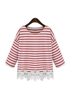 'Rebecca' Red Striped White Floral Crochet Hem Tee