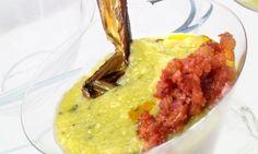 Receta de crema fina de alubias rojas y calabacín con chistorra y tocineta. Plato de legumbres elaborado por Ramón Roteta. #crema #alubias #calabacin