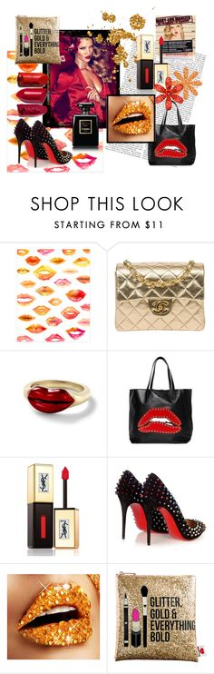 """Glitter Lips!"" by covetcosmetics ❤ liked on Polyvore featuring beauty, TheBalm, Billion Dollar Brows, WALL, Chanel, Alison Lou, RED Valentino, Yves Saint Laurent, Christian Louboutin and Sephora Collection"