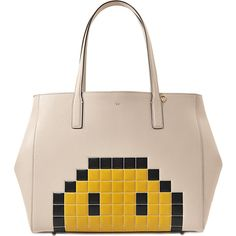 Anya Hindmarch Ebury Pixel Smiley shopper bag (€750) ❤ liked on Polyvore featuring bags, handbags, tote bags, beige, shopper tote handbags, beige handbags, pink shopping bag, beige tote and anya hindmarch
