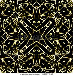Digital art technique style modern geometric ethnic or tribal abstract intricate seamless pattern in yellow and black tones.