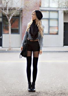 This is a great look for fall, very fashionable but I don't think I could pull off the high socks.