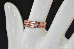 Thin Copper Alexandrite Ring Hammered Copper by Alaridesign Copper And Pink, Measure Ring Size, Pink Tourmaline Ring, Alexandrite Ring, Mother Rings, October Birth Stone, Copper Jewelry, Pure Products, Hammered Copper