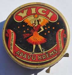 1930s Latvia Latvian Shoe Boot Polish Tin Box VICI Dancing Girl
