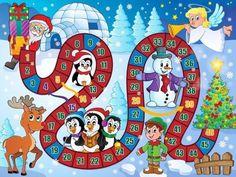 Board Game with Santa Claus and Christmas Tree Christmas Board Games, Christmas Math, Christmas Activities For Kids, Noel Christmas, Christmas Printables, Christmas Crafts, Christmas Decorations, Vector Christmas, Diy For Kids