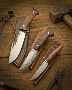 Beautiful hand crafted knives blades made with Damascus steel.