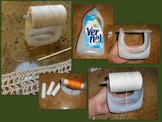 This is cool creative idea of recycling plastic bottle to make yarn holder, and best of all is we can use bottles of different sizes for your threads and yarns. Now we don't have to worry about yarn being tangled and all over the place. Plastic Bottle Crafts, Recycle Plastic Bottles, Plastic Milk, Diy Yarn Holder, Thread Holder, Spool Holder, Recycler Diy, Yarn Crafts, Diy Crafts