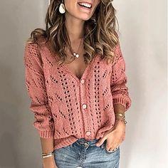 LightInTheBox - Παγκόσμιες Online Αγορές για Φορέματα, Σπίτι & Κήπος, Ηλεκτρονικά Προϊόντα, Ένδυση Γάμου Cardigan Rosa, Rosa Pullover, Pullover Mode, Knit Cardigan, Loose Sweater, Pink Sweater, Long Sleeve Sweater, Jumper, Fall Sweaters For Women