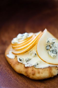 french theme. Sourdough toast with pear and blue cheese