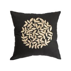 Black and beige pillow cover with modern floral motif. The pillow cover made from black linen and embroidered with beige floral motif. The pillow cover has hidden zipper at the bottom edge.  This pillow cover is available in size 16 x 16, size 18 x 18, size 20 x 20, size 24 x 24 and size 26 x 26. Choose the size you need by using the Size drop down menus. This listing is for pillow cover only without insert/filler.  More black pillow covers are available here…