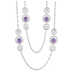 Tacori 18K925 Lilac Blossoms Rose Amethyst, Chalcedony, & Amethyst... ($1,030) ❤ liked on Polyvore