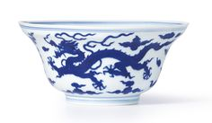 A FINE BLUE AND WHITE OGEE'DRAGON' BOWL<br>SEAL MARK AND PERIOD OF QIANLONG | lot | Sotheby's
