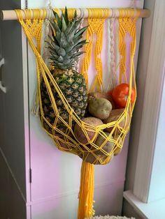 A lovely hanging fruit basket for your bohemian storage needs. Fruit not included. Macrame Art, Macrame Design, Macrame Projects, Craft Projects, Hanging Fruit Baskets, Deco Boheme, Macrame Plant Hangers, Macrame Patterns, Diy Art